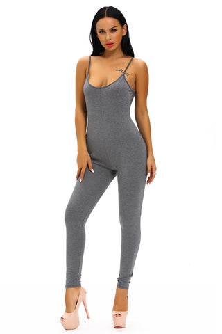 Grey Simple Stretch Long Unitard