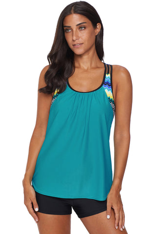 Turquoise Strappy T-Back Print Beach Top