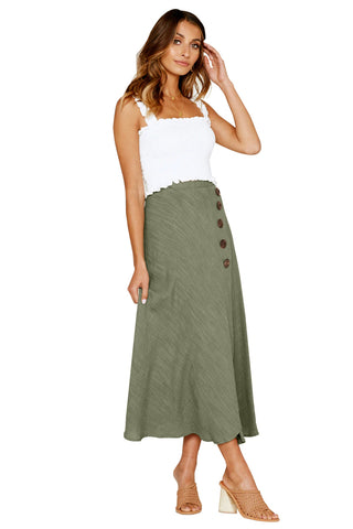 Light Green Buttoned High Waist Long Skirt