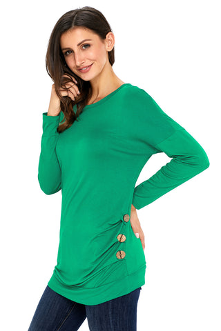 Green Side Buttoned Long Sleeves Top