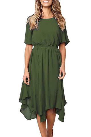 Green Short Sleeves Pleated Dress