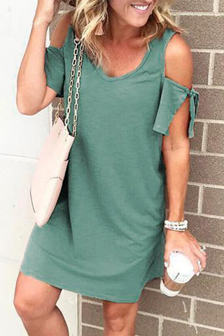 Green Cold Shoulders Short Sleeves Shift Dress