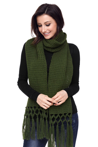 Green Tassel Knit Long Scarf
