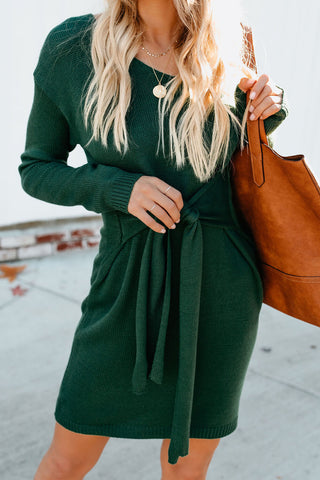 Green Front Tie Long Sleeves Sweater Dress