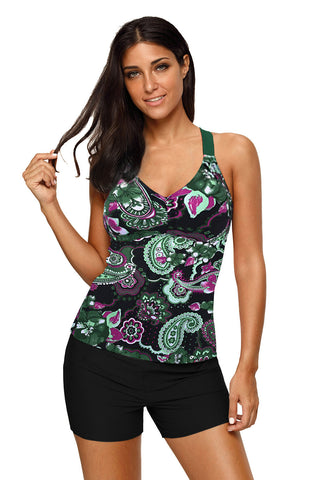 Green Floral Print Sleeveless Beach Top