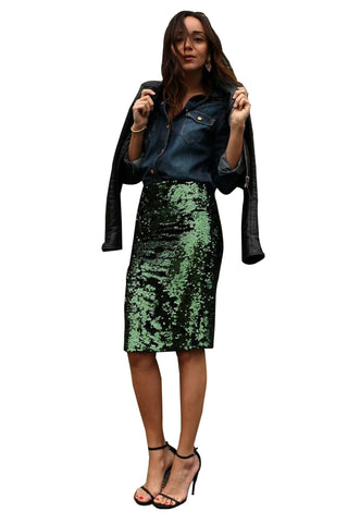 Green Crushed Sequin Glitter Midi Skirt