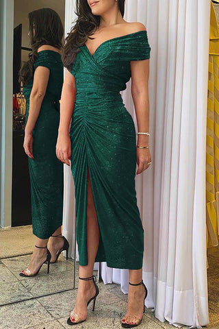 Green Off Shoulder Ruched Slit Dress