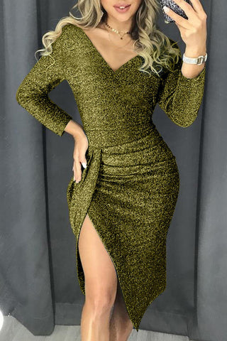 Green Deep Neck Glitter Ruched Slit Dress