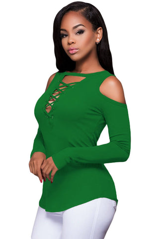 Green Cut-out Cold Shoulders Ribbed Top