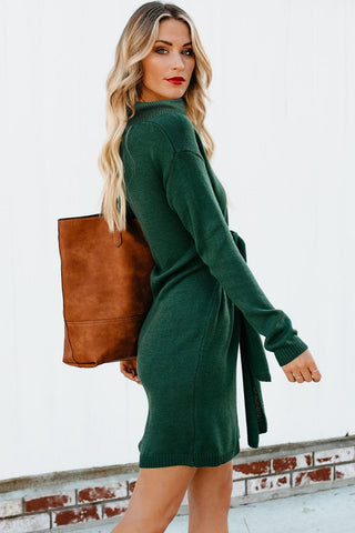Green High Neck Pullover Sweater Dress
