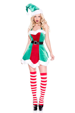 Green Halter North Pole Elf Christmas Costume