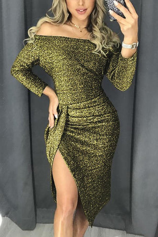 Green Metallic Sequin Off Shoulder Dress