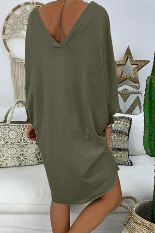 Green 3/4 Sleeves One Piece Petite Dress