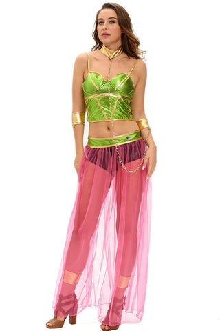Green Pink Slave Princess Costume
