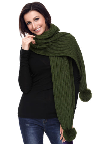 Green Ribbed Knit Long Scarf