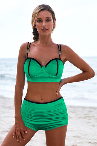 Green Full Cup Push Up High waist Bikini Set