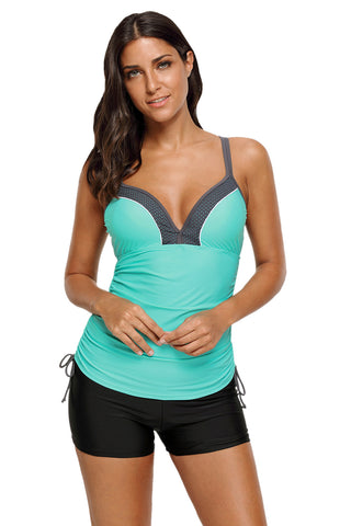 Mint Side Ties Ruched Beach Top