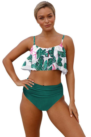 Green Top Ruffle Print High waist Bikini Set