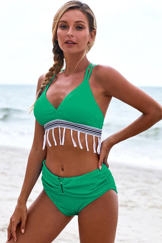 Green Bowknot Strappy Tassel High waist Bikini Set