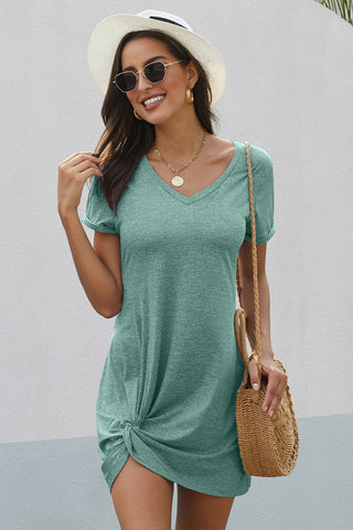 Mint Short Sleeves Side Knot Short Dress