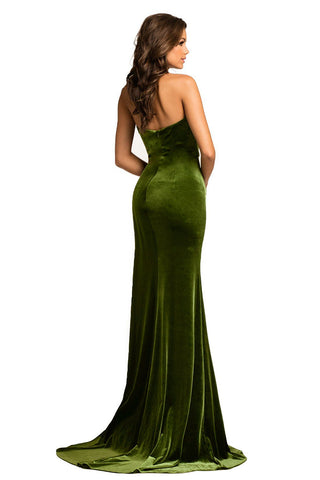 Green Halter Thigh High Split Velvet Gown