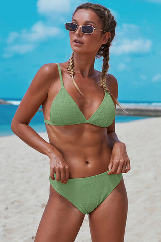 Light Green Smocked Triangular Bikini Set