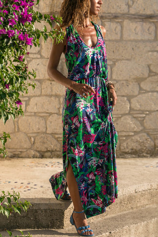 Green Hollow-Out Floral Tank Dress