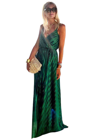 Green Sleeveless V Neck Tunic Maxi Dress