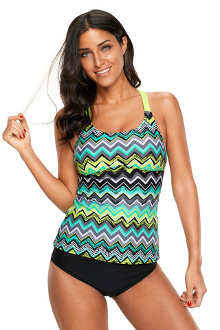 Green Yellow Zigzag Print Beach Top