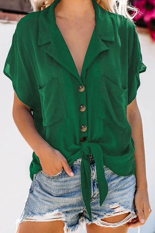 Green Collared Button Down Tie Shirt Top