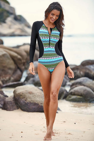 Blue Tribal Print Rashguard One Piece Swim Suit