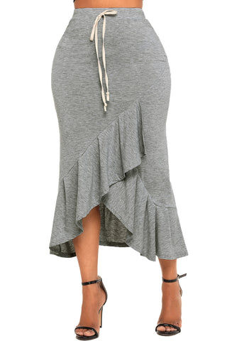 Grey Drawstring Ruffle Midi Skirt