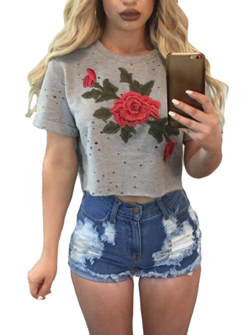 Grey Floral Embroidery Crop Top
