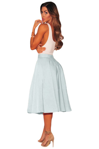 Light Blue A-Line Flared High Waist Midi Skirt - Boldgal.com