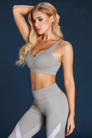 Grey U Shaped Neck Sports Bra