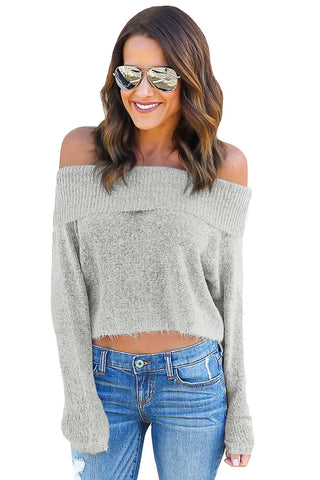 Grey Off Shoulder Knit Sweater