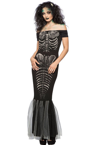 Black Skeleton Off Shoulder Mermaid Costume