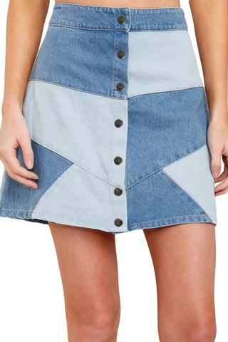 Blue High Waist Denim Short Skirt