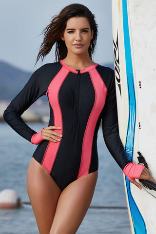Black Pink Long Sleeve Rashguard Suit