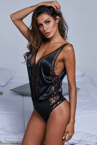 Black Silk Love Sleeveless Bodysuit