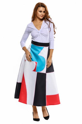Colorblock Printed Flared Midi Skirt