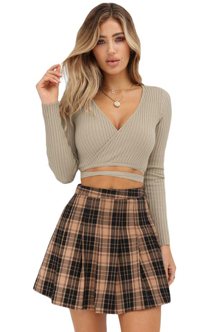 Khaki Deep Neck Ribbed Wrap Crop Top