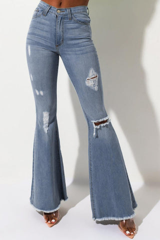 Blue High Rise Distressed Flare Jeans