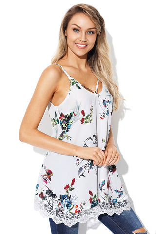 White Floral Strappy Sleeveless Vest