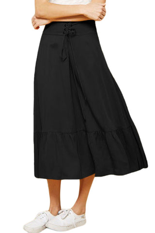 Black High Waist Ruffle Midi Skirt