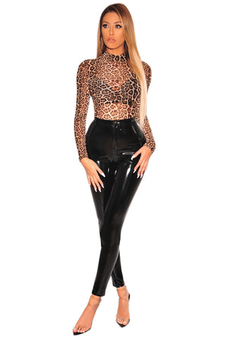 Brown High Neck Mesh Leopard Print Bodysuit