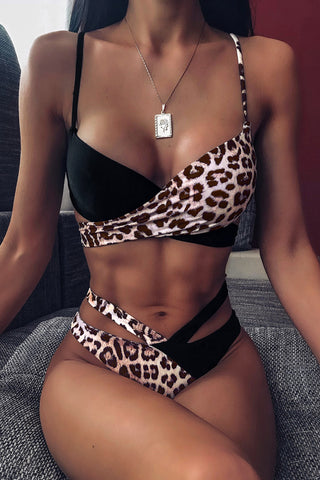 Black Splicing Tie Leopard Print Bikini Set