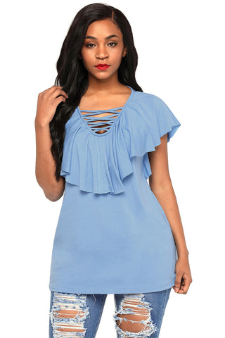 Light Blue Lace Up Neck Ruffle Top