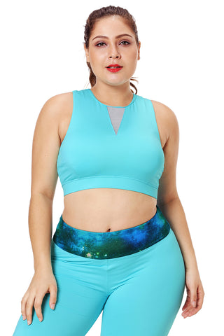 Turquoise Mesh Insert High Neck Sports Bra
