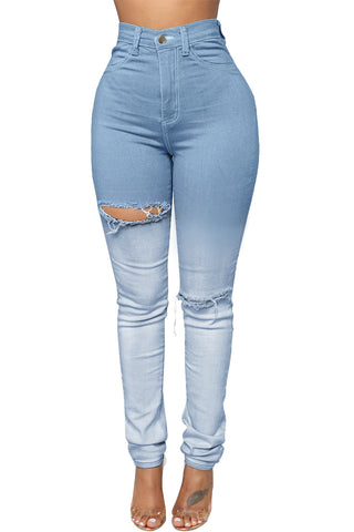 Light Blue Ombre Wash Ripped Jeans